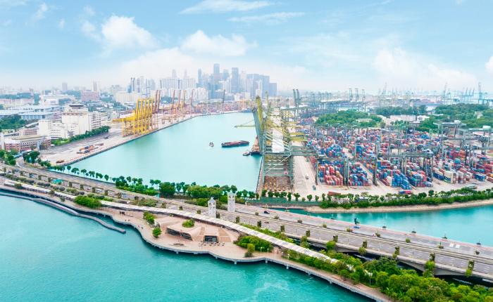 Aerial View of the Famous Port in Singapore