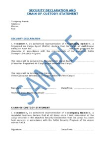 Air Cargo Security Declaration Template