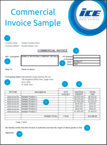 Commercial Invoice for export Sample