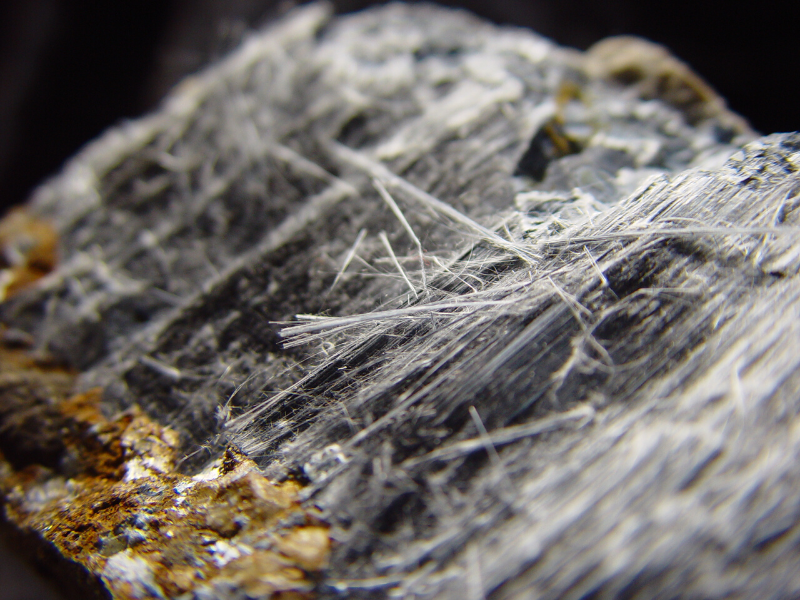 Example of asbestiform riebeckite ore, also known as crocidolite or 'blue asbestos'
