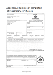 Samples of completed phytosanitary certificates