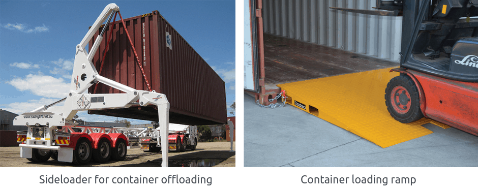 Sideloader for container offloading and Container loading ramp