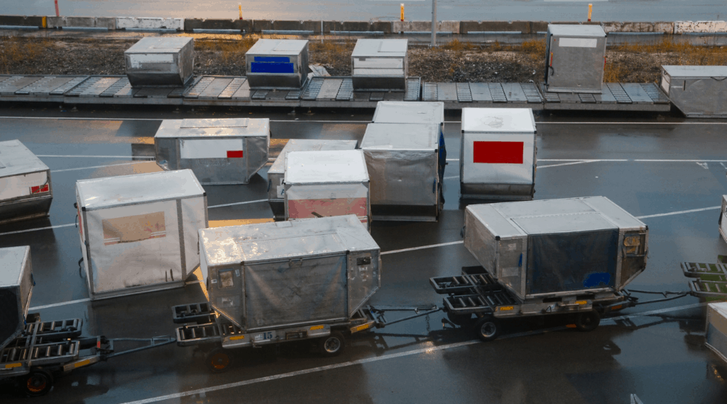 air cargo containers (ULDs) being transported