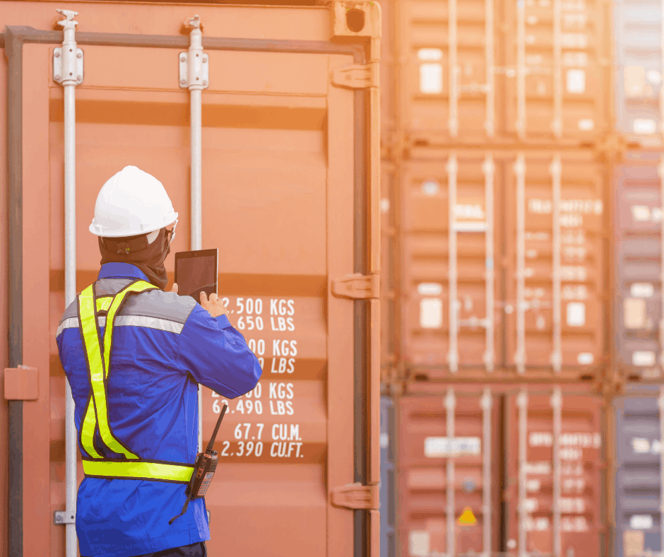 Cargo worker confirming cargo container information