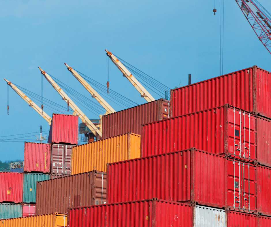 Cargo containers at a sea port