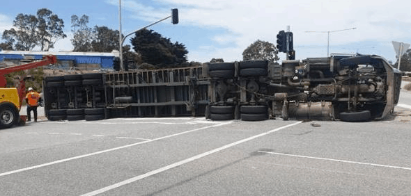 Heavy vehicle roll over in Dandenong South, Victoria.