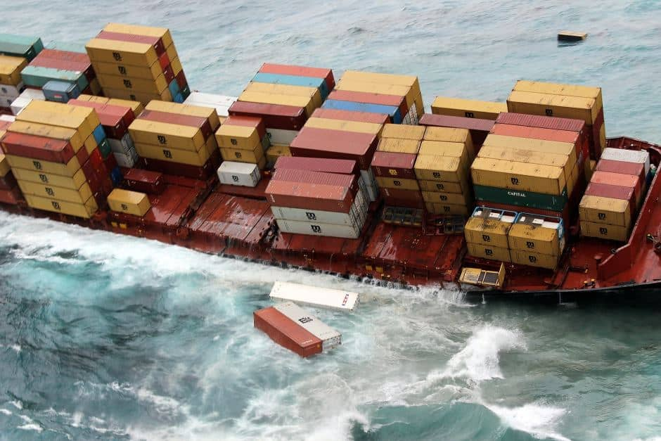 Cargo containers falling overboard in bad weather