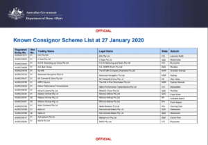 Updated List of Approved Known Consignors