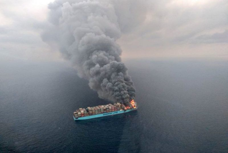 maersk ship on fire