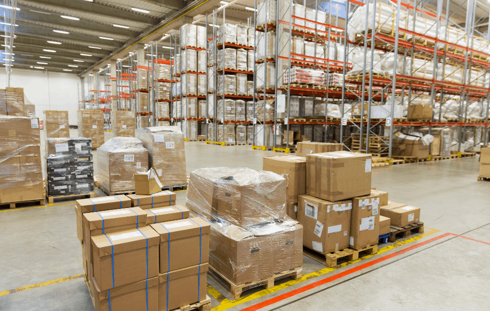 pallets and cargo in warehouse