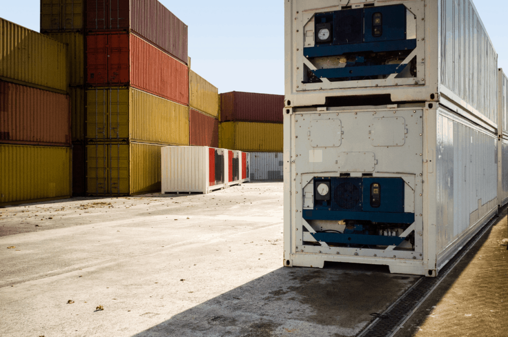 refrigerated containers on yard