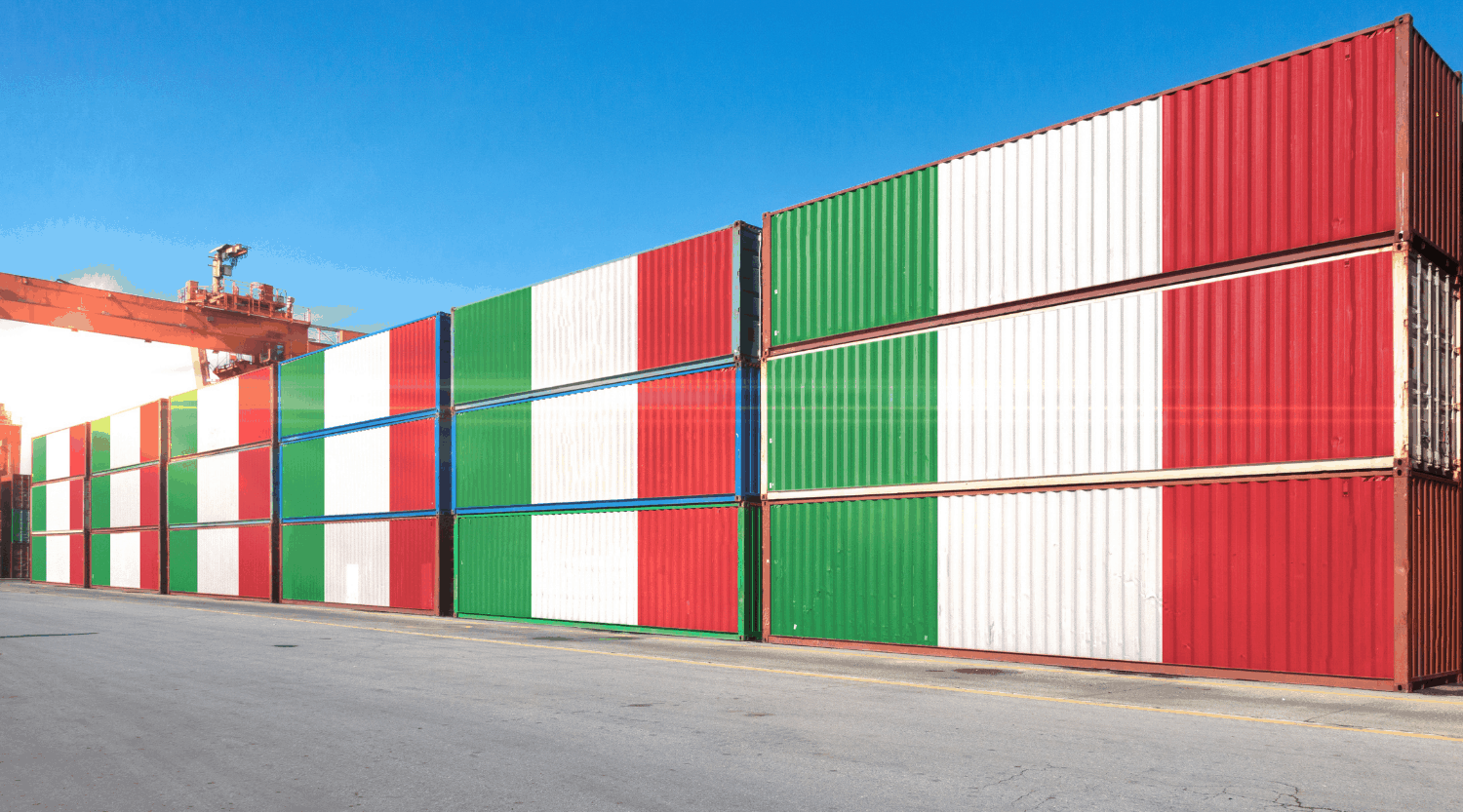 shipping containers on italian flag